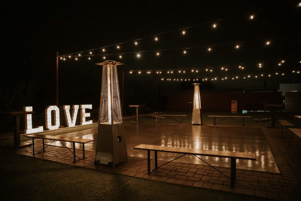 paseo wedding venue at night