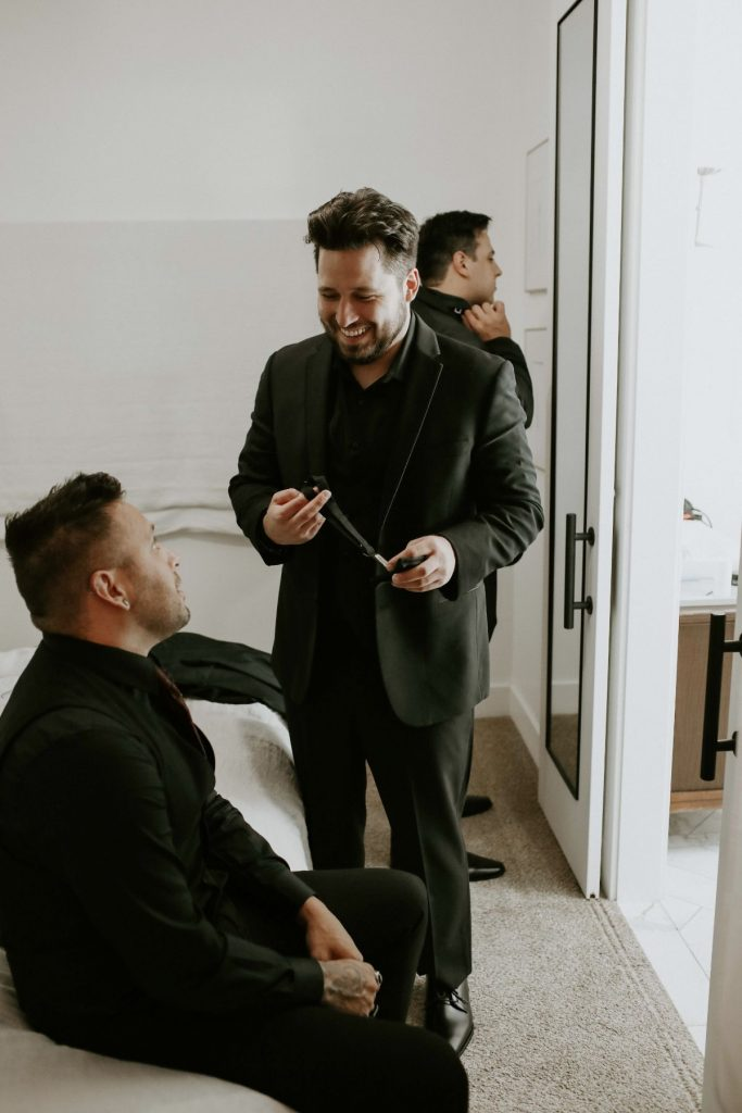 groom getting ready airbnb