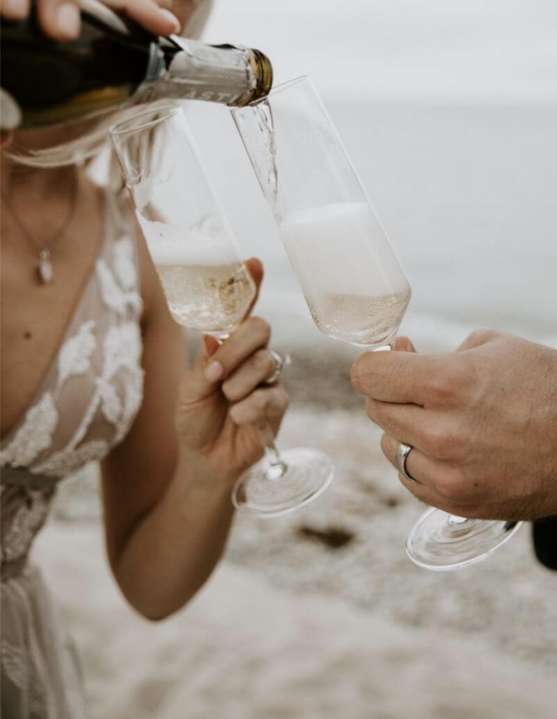 champagne on the beach photos