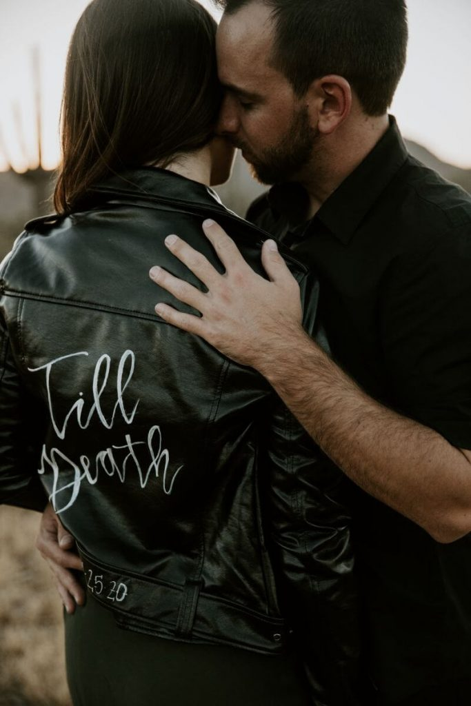 leather jacket couple photos