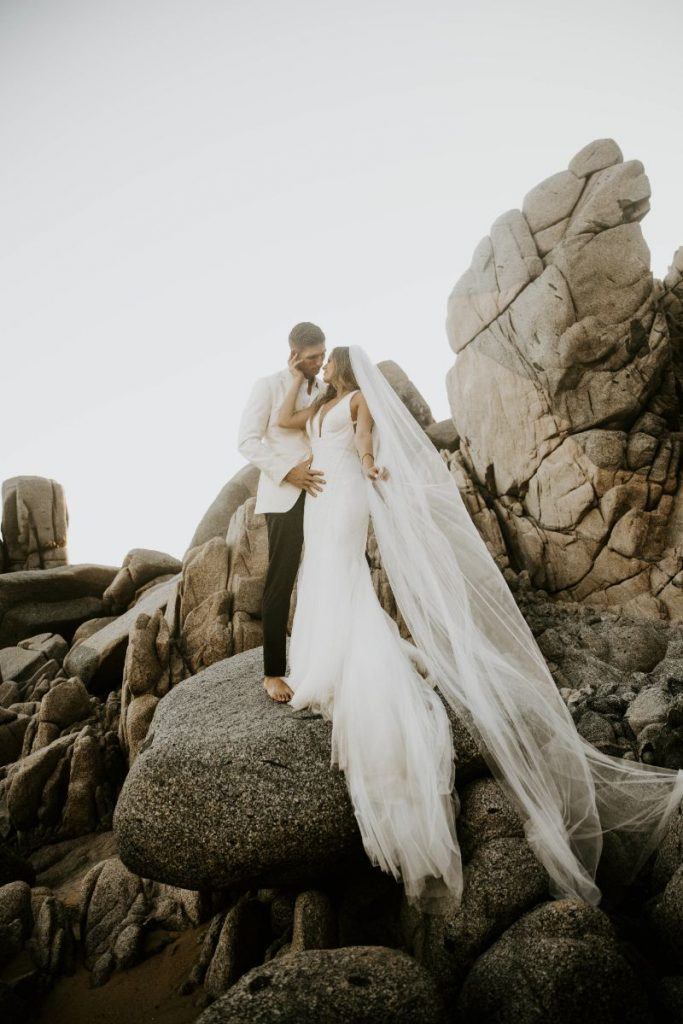 luxury wedding Cabo san lucas bride and groom sunset