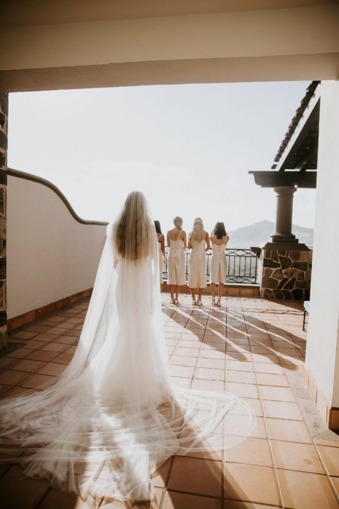 luxury Cabo wedding bride and bridesmaids getting ready