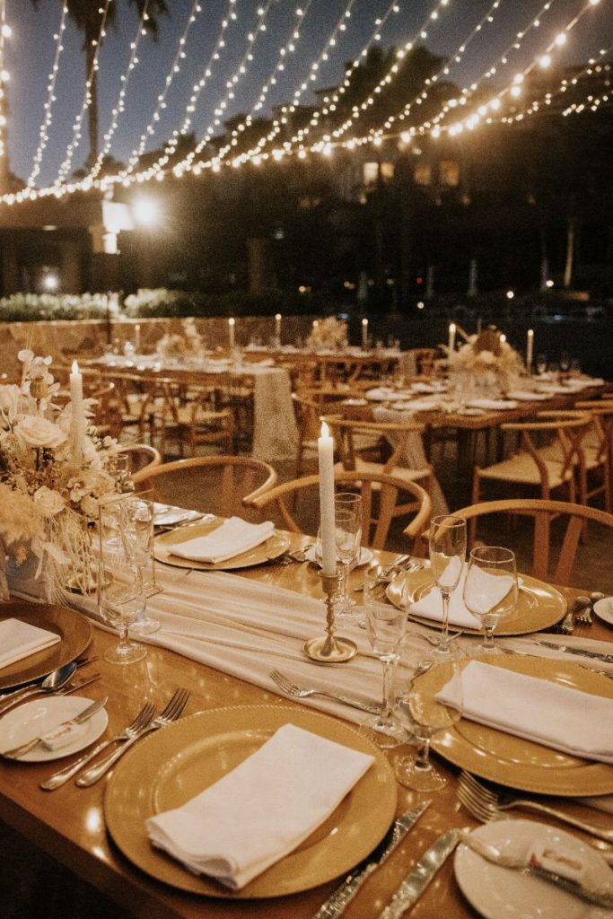 luxury Cabo wedding reception set up