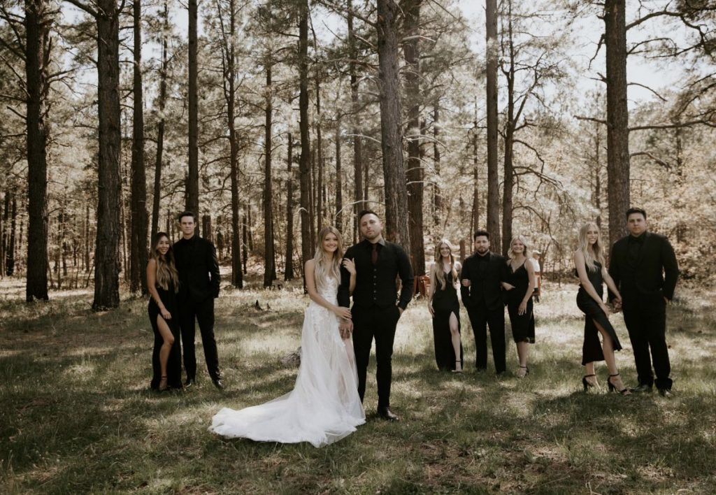 meadow bridal party photos