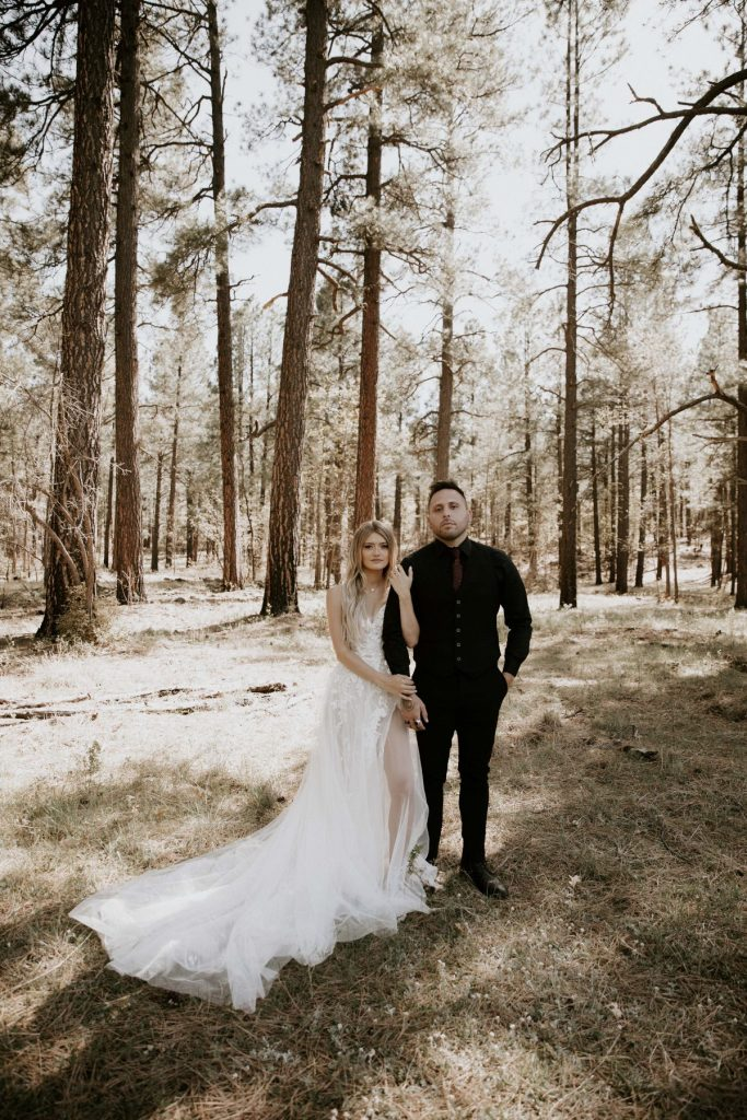 forest bride and groom photos